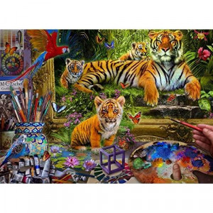 Vermont Christmas Company Tiger Painting Jigsaw Puzzle 1000 Piece