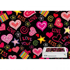 Wood-Material Large Size - Love Hearts Vector Romantic Valentine Day20.6 X 15.1 inch - 500 Piece Jigsaw Puzzle