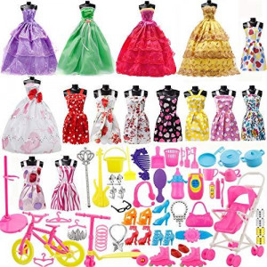 Yourss Doll Clothes Set for Barbie Dolls 15 Pack Clothes Party Grown Outfits and 98pcs Different Doll Accessories Shoes Bags Necklace Tableware for Little Girl Birthday