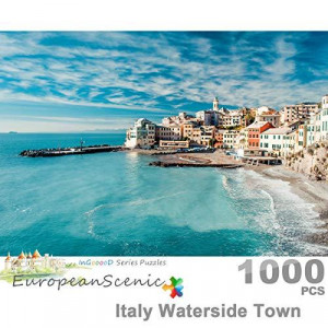 Ingooood- Jigsaw Puzzle 1000 Pieces- European Scenic Series- Italy Waterside Town_IG-0375 Entertainment Toys for Adult Special Graduation or Birthday Gift Home Decor