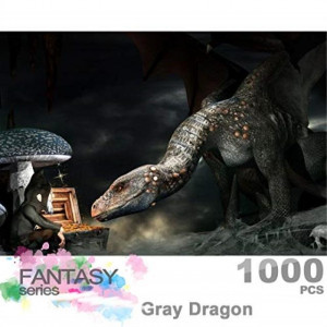 Ingooood- Jigsaw Puzzle 1000 Pieces for Adult- Fantasy Series- Dragon Series Glow in The Dark Puzzles Entertainment Wooden Puzzles Toys (Gray Dragon)