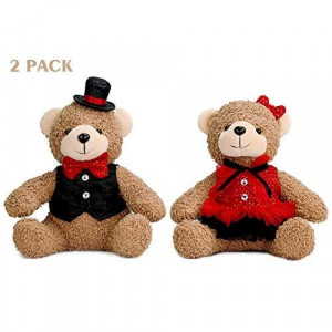 YING LING CRAFTS 2 Pack Teddy Bears Couple Stuffed Animals Plush Bride and Groom Bears for Wife Husband Anniversary Mother's Father's Day Birthday Long Distance Relationships Gifts