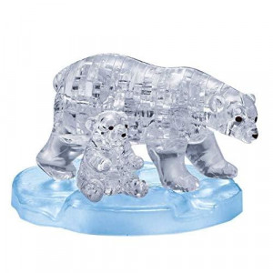 BePuzzled Original 3D Crystal Jigsaw Puzzle - Polar Bear and Baby Animal Assembly Brain Teaser Fun Model Toy Gift Decoration for Adults & Kids Age 12 and Up 40 Pieces (Level 1)