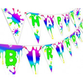 Slime Rainbow Happy Birthday Banner Pennant - Slime Party Decorations - Rainbow Party Supplies - Slime Party Supplies - Rainbow