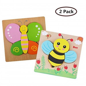 DDMY Wooden Jigsaw Puzzles Set for Kids Age 1 2 3 4 Year Old [2 Pack] Animals Puzzles for Toddler Children for Color Shapes Cognition Skill Learning Educational Puzzles Toys for Boys and Girls Gifts