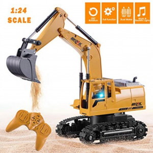 Tuptoel Remote Control Excavator Full Functional Construction Vehicle with Flashlights 1/24 Scale Rechargeable RC Truck Excavator Toys/Birthday Gifts for Boys Girls Toddlers
