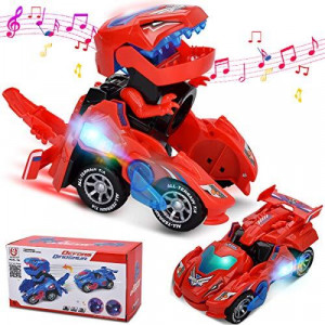 Villana Transforming Dinosaur Toys Transforming Dinosaur Car with LED Light and Music Automatic Transform Dino Car for 2+ Year Old Kids Christmas Birthday Gifts (Red)