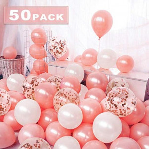 zorpia 50 Pieces Balloons Rose Gold 12 Inch Balloons Rose Gold Confetti Balloons Helium Balloons for Wedding Valentines Day Girl Kids Birthday Party Decor