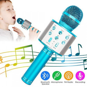 Wireless Bluetooth Karaoke Microphone 5-in-1 Portable Handheld Karaoke Mic Speaker Player Recorder with Adjustable Remix FM Radio for Kids Adults Birthday Party KTV Christmas (Blue)