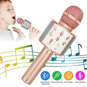 Wireless Bluetooth Karaoke Microphone 5-in-1 Portable Handheld Karaoke Mic Speaker Player Recorder with Adjustable Remix FM Radio for Kids Adults Birthday Party KTV Christmas (Rose Gold)