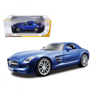 Mercedes SLS AMG Gullwing Blue 1/18 Diecast Model Car by Maisto