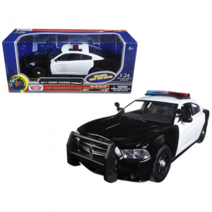 2011 Dodge Charger Pursuit Police Car Black and White with Flashing Light Bar, Front and Rear Lights and 2 Sounds 1/24 Diecast Model Car by Motormax