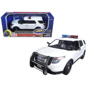 2015 Ford Police Interceptor Utility White with Light Bar and Sound 1/24 Diecast Model Car by Motormax