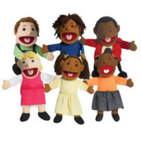 "15"" Ethnic Children Puppets with Movable Mouths - Set of 6"