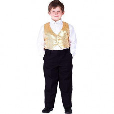 Kids Sequin Vest (Small, Gold)