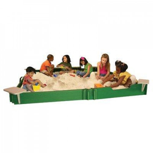 10' by 10' Sandbox - With Cover, 4-Corner Seats, 1-Bench Seat, Ground Barrier, 32 Stakes